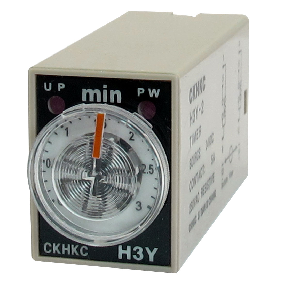 DC 24V 8 Pins Plug in DPDT 3 Minutes Delay Timer Time Relay H3Y-2