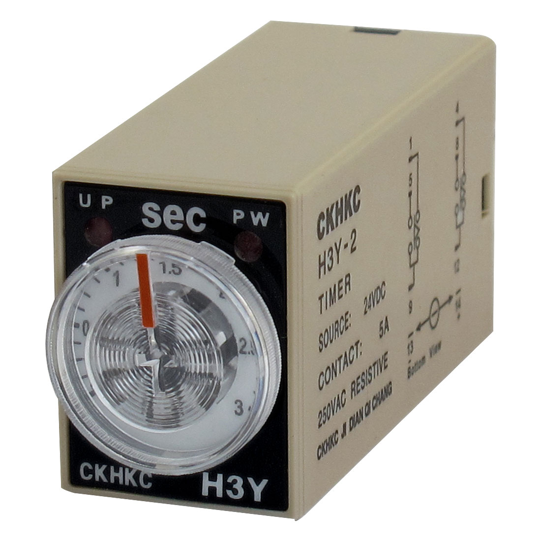 H3Y-2 8-Pin Plug in 0-3s Delay Timing Time Relay 24VDC w LED Indicator