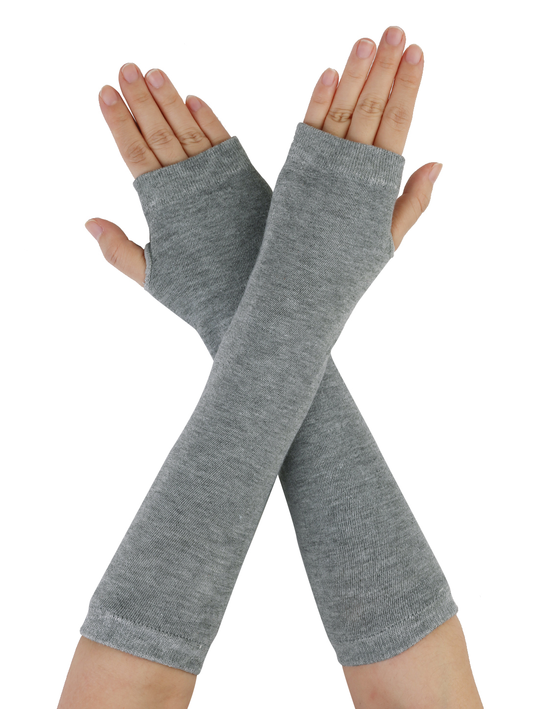 Woman Light Gray Elastic Knitting Fingerless Arm Warmer Gloves