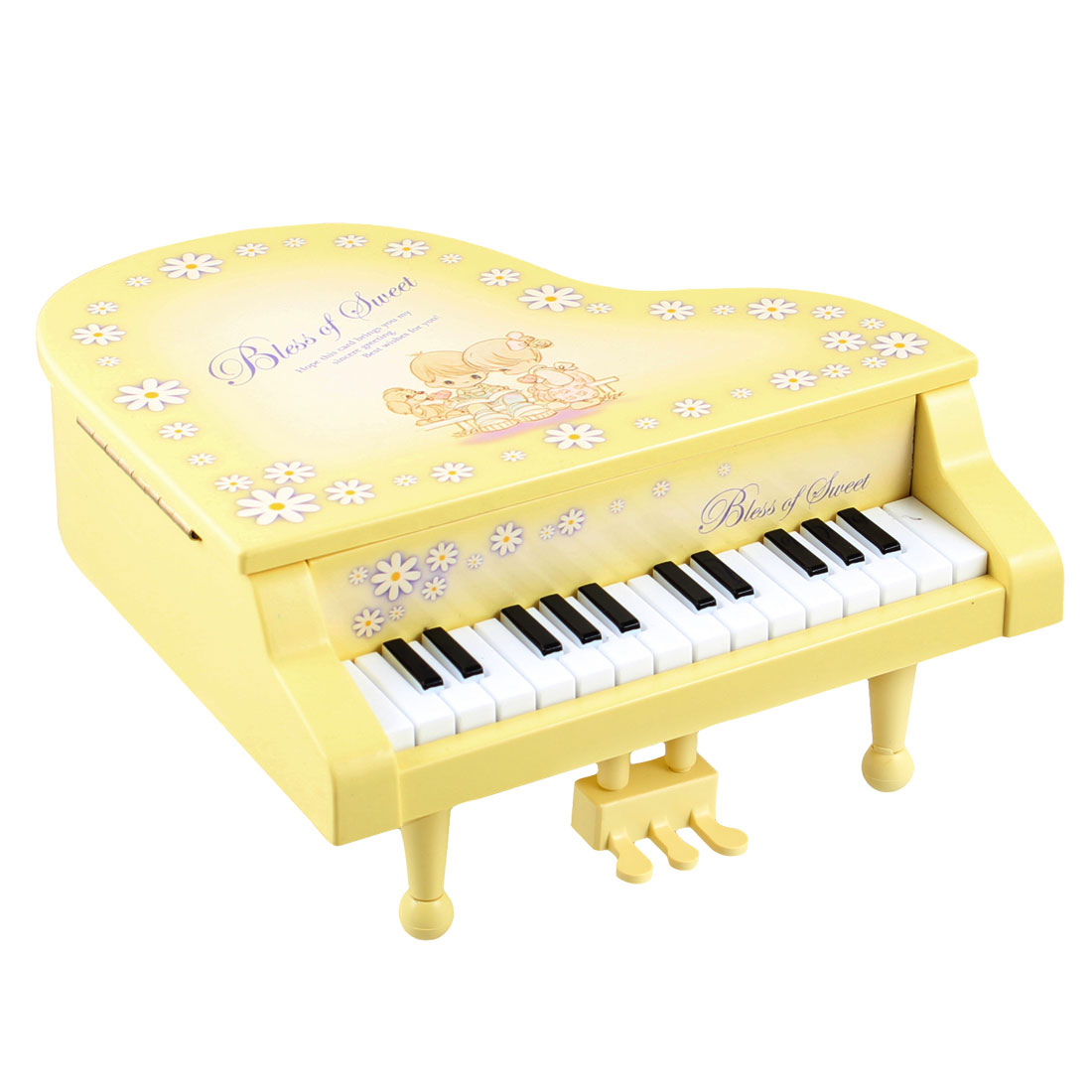 Interest Developing Plastic Piano Music Box Mini Model Gift Yellow