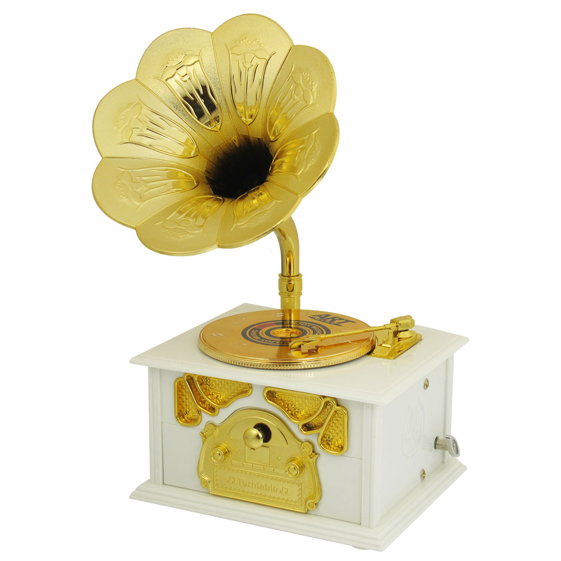 Home Desktop Decoration White Plastic Antique Dic Music Box Toy for Child