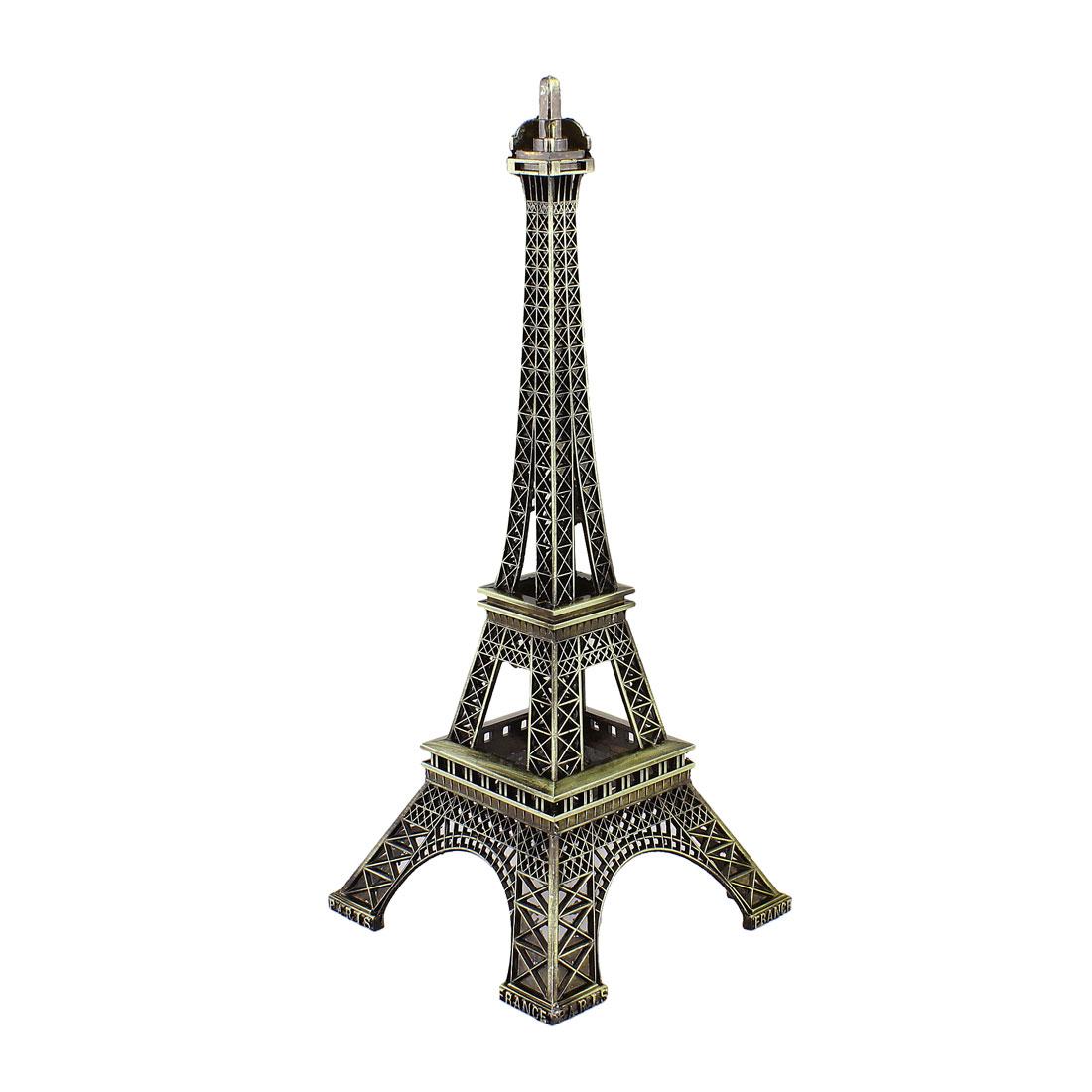 "Metal France Miniature Eiffel Tower Statue Model Ornament 10"" Bronze Tone"