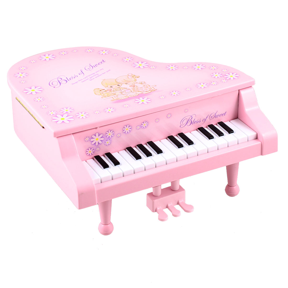Pink Plastic Flower Print Piano Music Box Miniature Model Toy for Kids