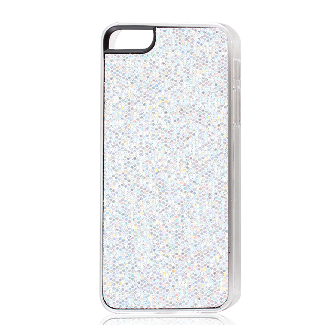 Silver Tone Sparkle Glitter Hexagons Hard Back Case Cover for iPhone 5 5G
