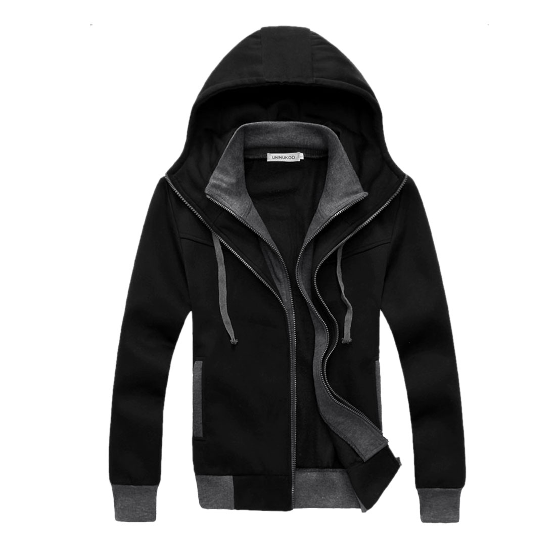 Men Black Long Sleeves Double Zipper Casual Side Pockets Hoodie M