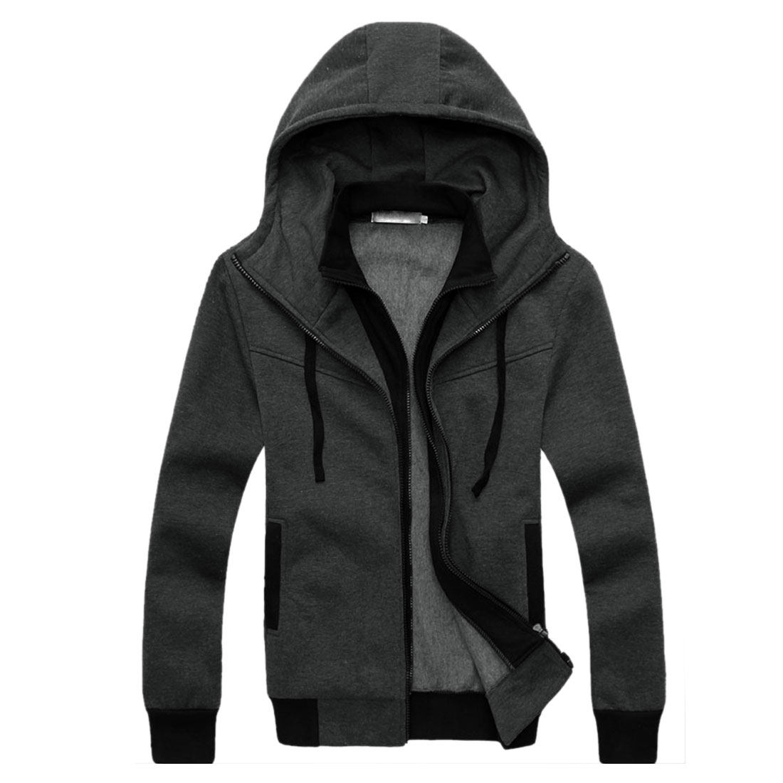 Men Dark Gray Convertible Collar Ribbing Cuff Casual Hoodie M