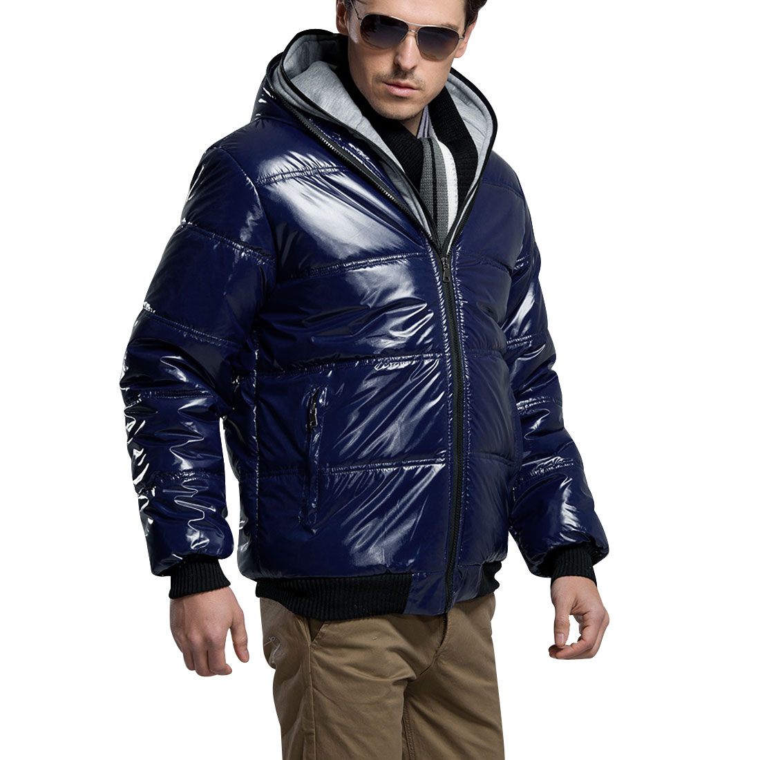 Men Blue Long Sleeves Double Zipper Casual Hooded Padded Coat M
