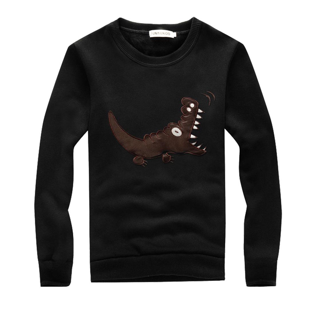 Men Long Sleeves Crocodile Printed Ribbed Hem Black Pullover Shirt M