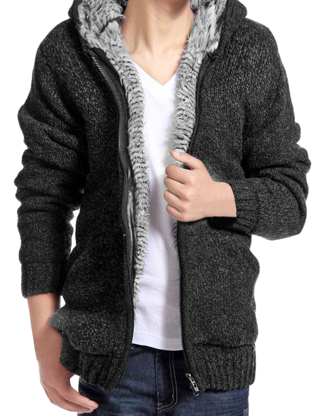 Men Long Sleeves Zip Up Inner Fleece Black White Sweater Hoodie M
