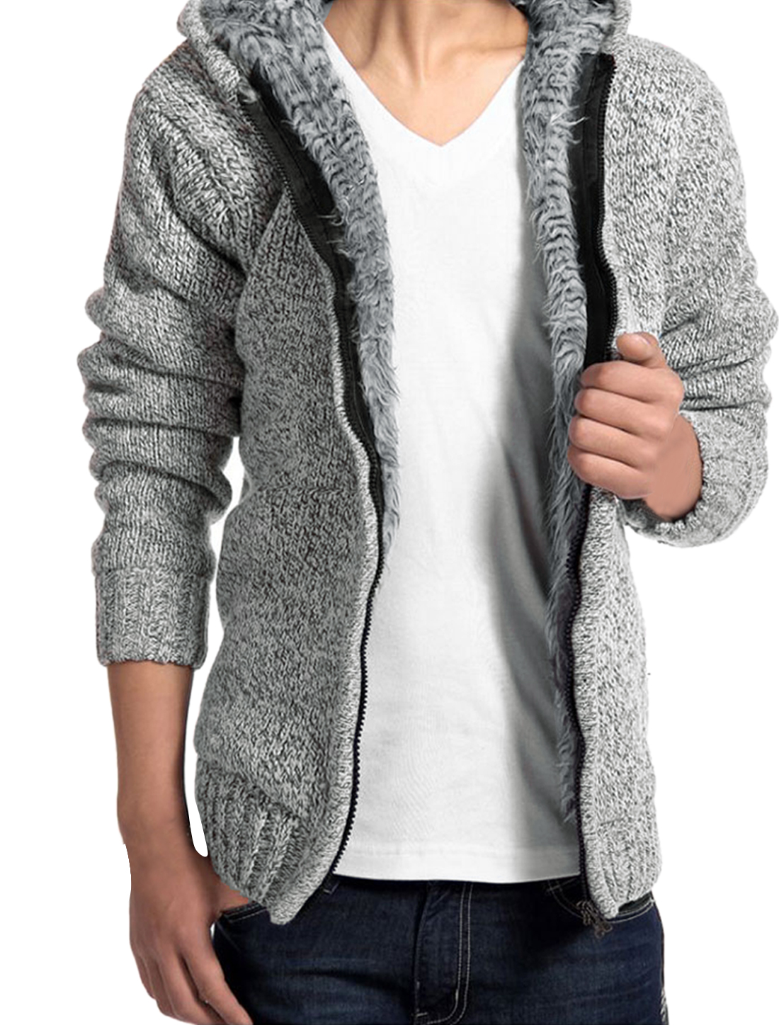 Men Zip Up Heavyweight Sherpa Lined Knit Cardigan Sweater Hoodie Light Gray M