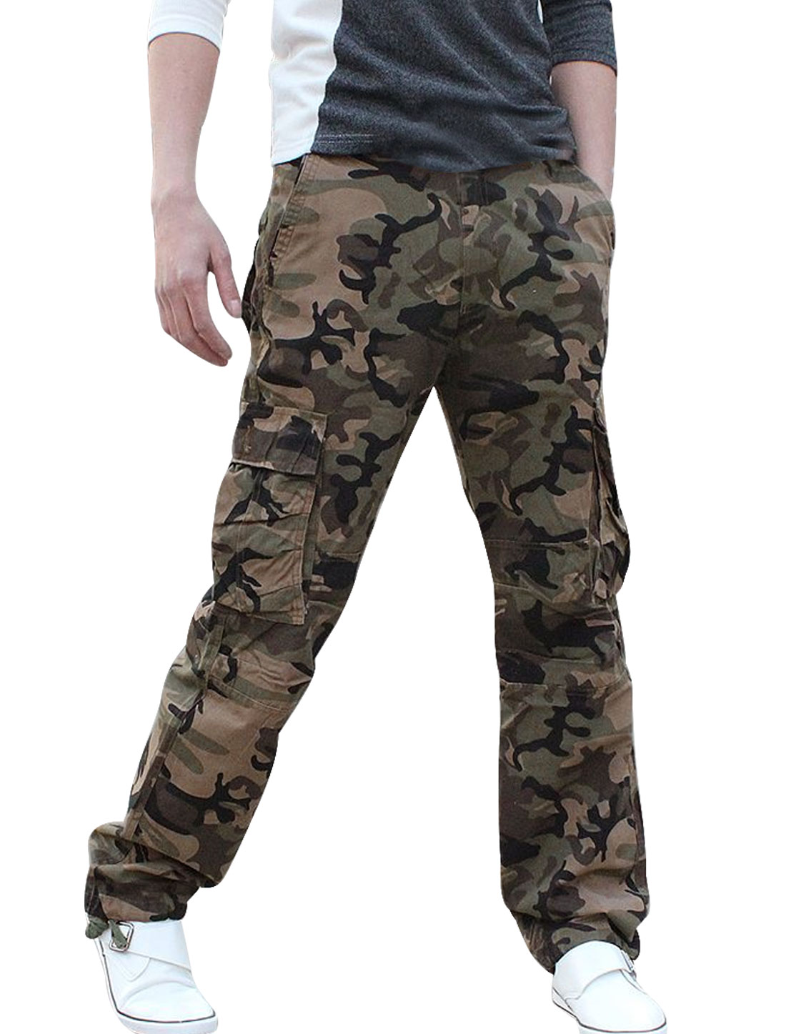 Mens Olive Green Six Cargo Pockets Straight Leg Camo Pants W37