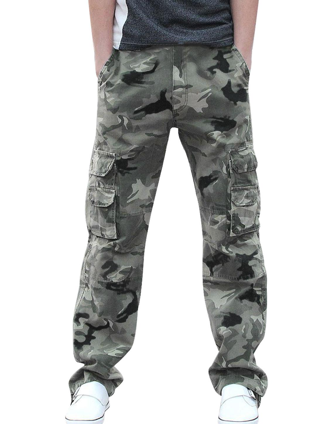 Mens Khaki Flap Cargo Pockets Fashion Outdoor Camo Pants W32