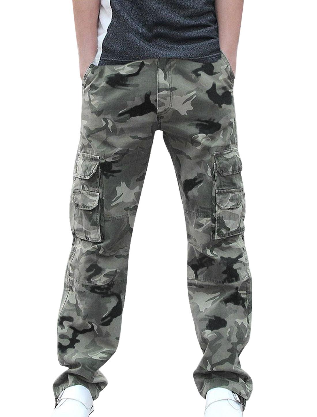 Mens Fashion Camouflage Printed Six Pockets Dark Green Gray Pants W37