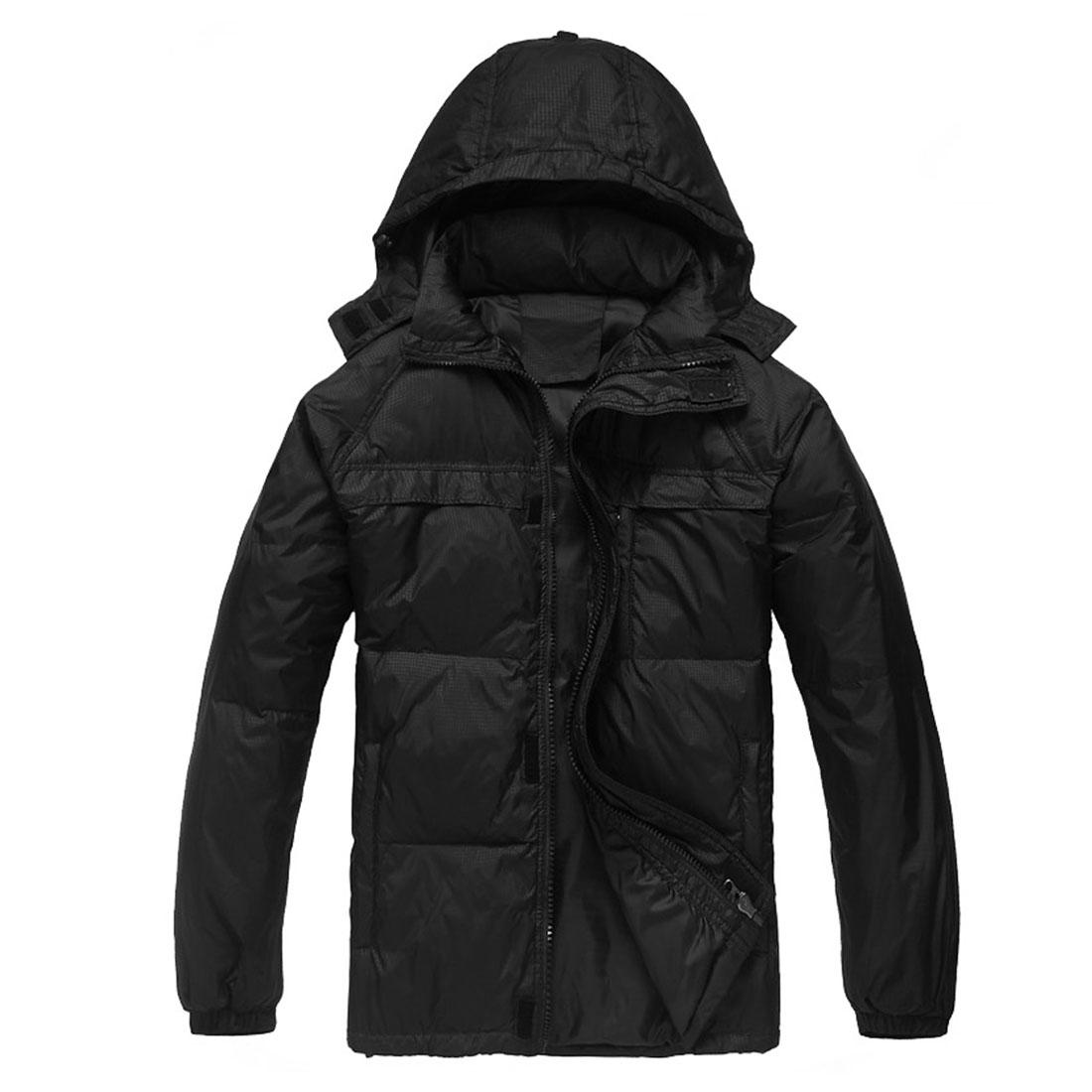 Mens Winter Fashion Zipper Pockets Windproof Black Plaids Coat L