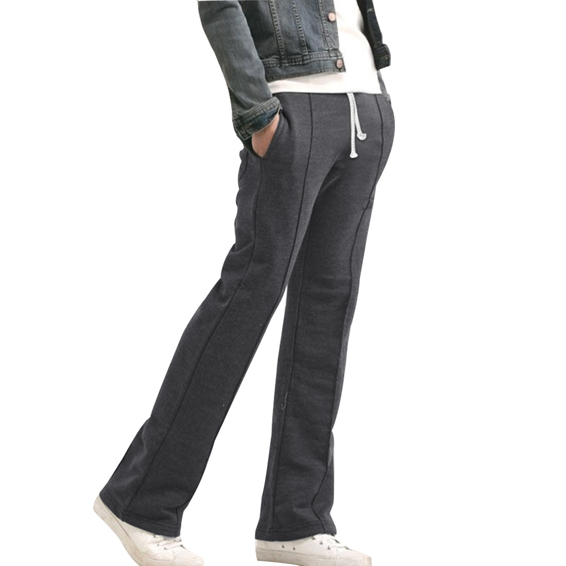 Mens Dark Gray Korea Fashion Elasitc Wasit Straight Leg Pants W29
