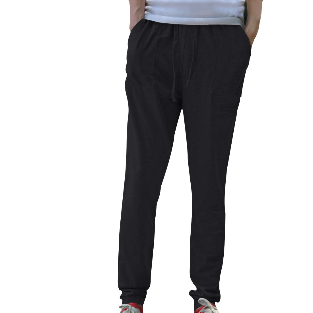Mens Black New Fashion Winter Fleece Lined Low Rise Sweatpants W28