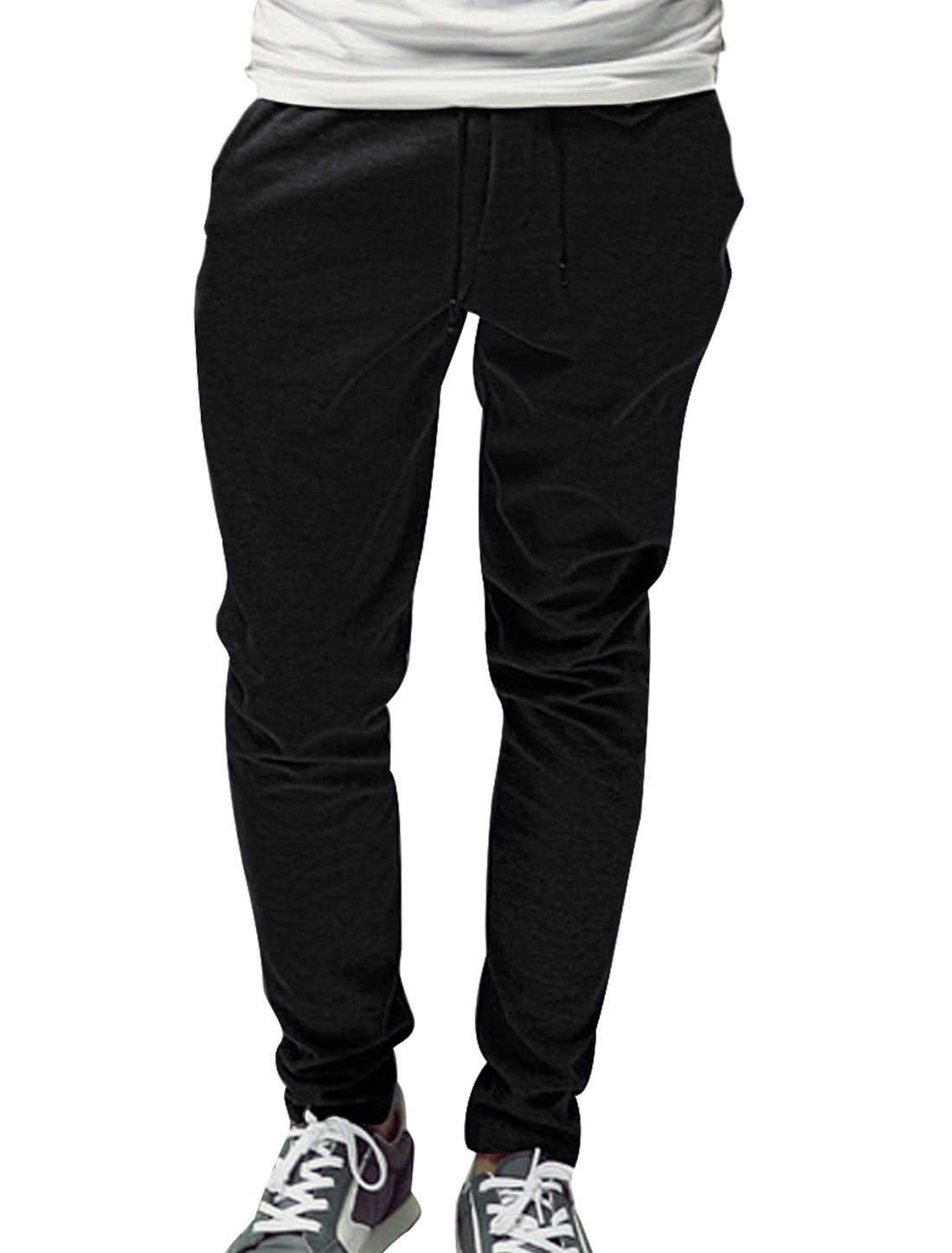 Men Casual Low Waist Zip Fly Seam Pockets Fleece Black Pants W32