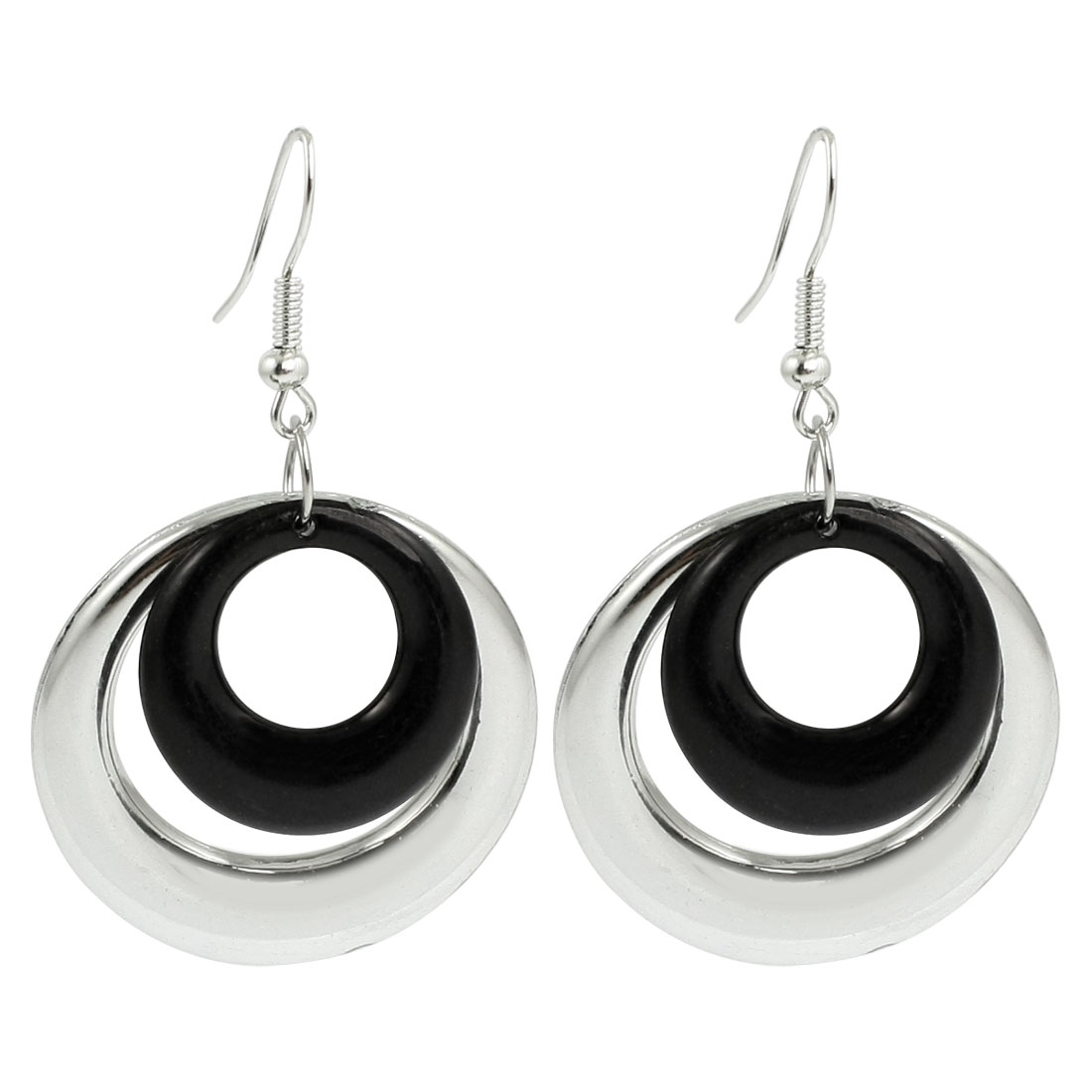 Lady Black Silver Tone Dual Circle Pendant Fish Hook Earring Pair