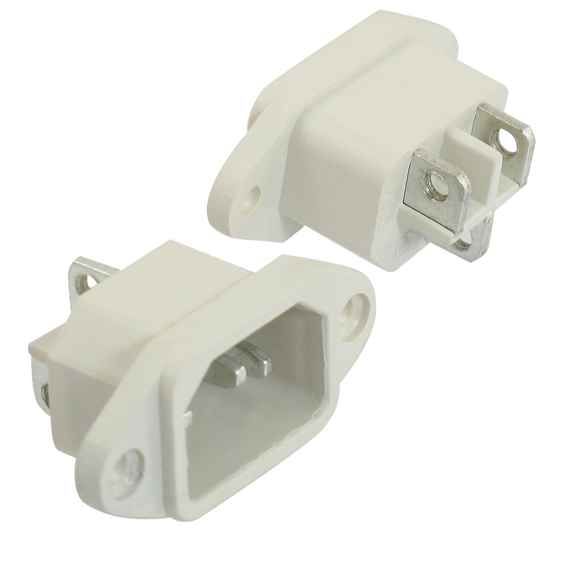 2 Pcs AC 250V 10A 3 Terminals C14 Plug Outlet Power Socket Adapter Offwhite