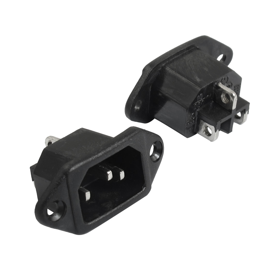 2 Pcs AC 250V 10A 3 Terminals C14 Plug Outlet Power Socket Adapter Black