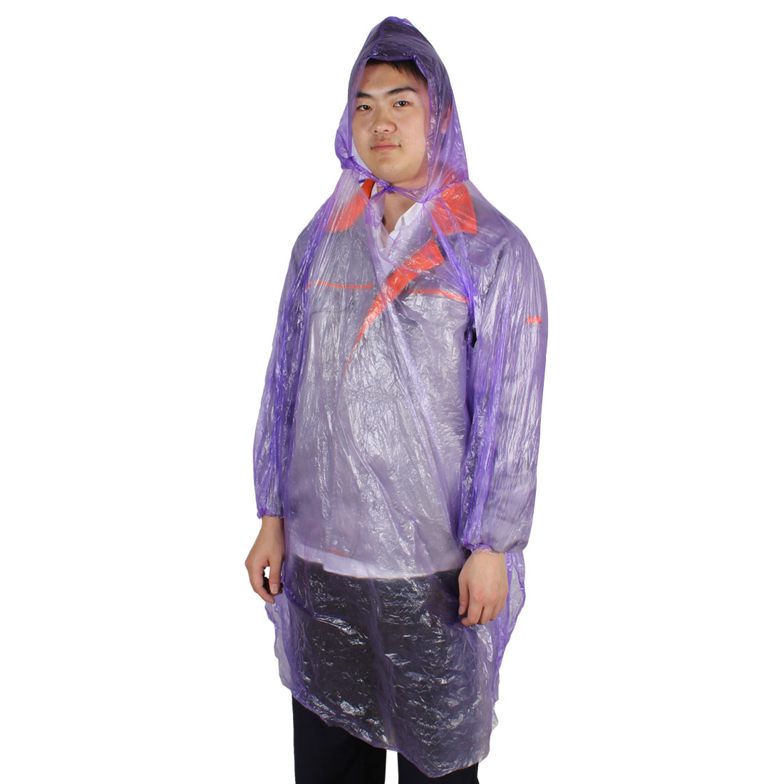 Women Men Purple Plastic Travel Camping Hooded Emergency Disposable Raincoat