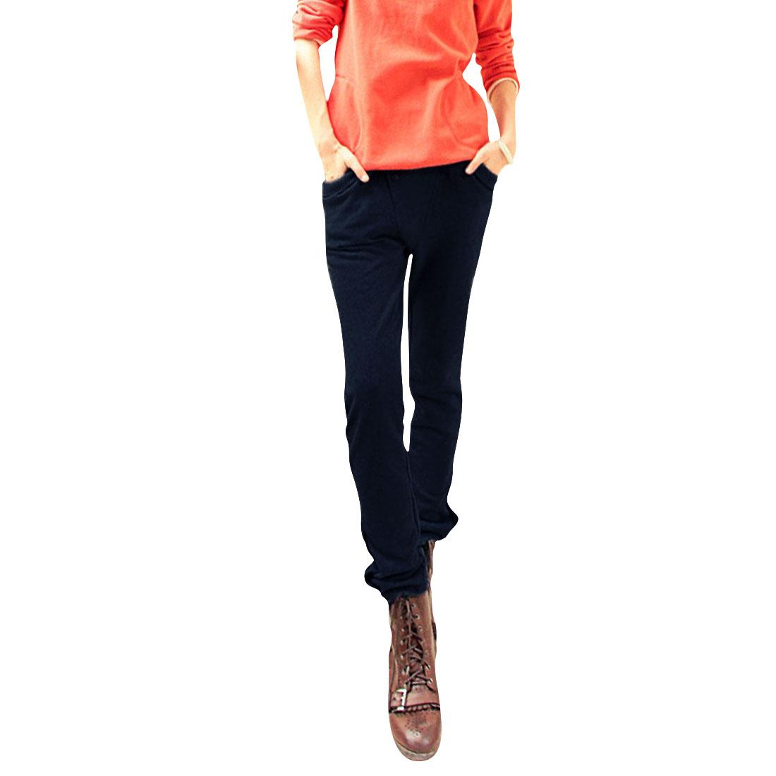 Sports Elastic Low Waist Dark Blue Fleece Pants For Women XS