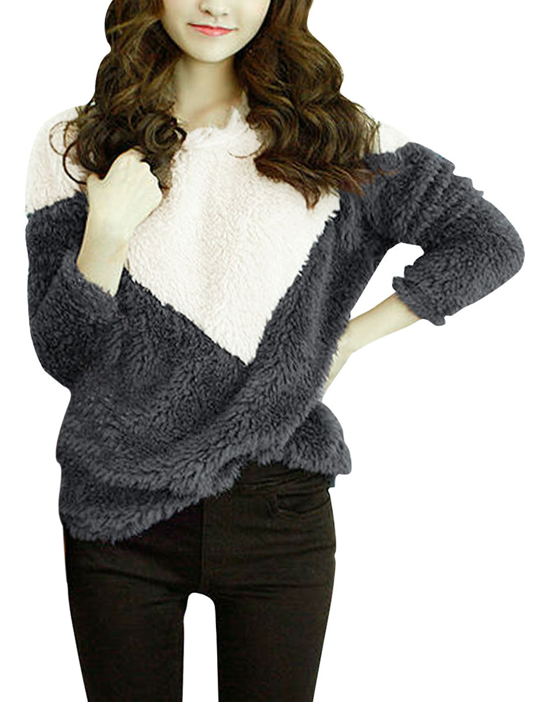 Lady Long Sleeve Contrast Color Stretch White Dark Gray Sweater S