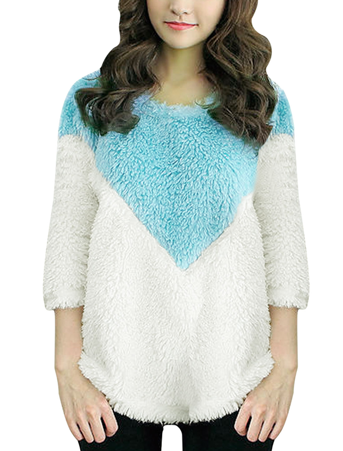 Womens Long Sleeve Contrast Color White Light Blue Sweater Top S