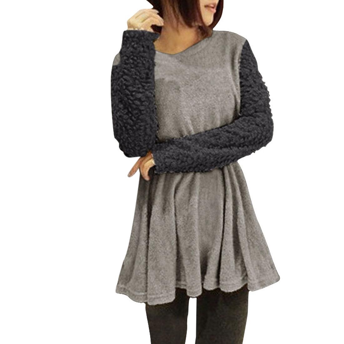Womens Long Sleeve Elastic Waist Pullover Dark Light Gray Tunic S