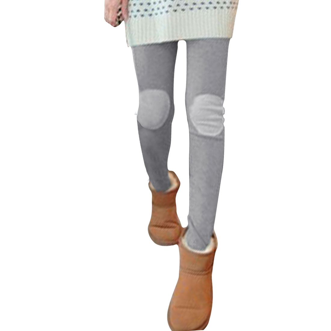 Ladies Light Gray Mid Rise Stretchy Pure Casual Skinny Leggings XS