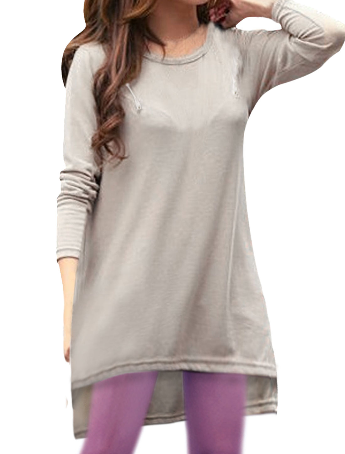 Ladies Apricot Scoop Neck Pullover Casual Autumn Tunic Shirt XS