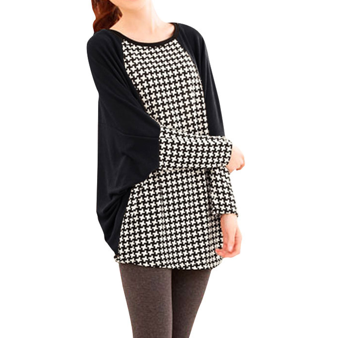 Ladies Black Batwing Sleeves Houndstooth Pattern Shirt S