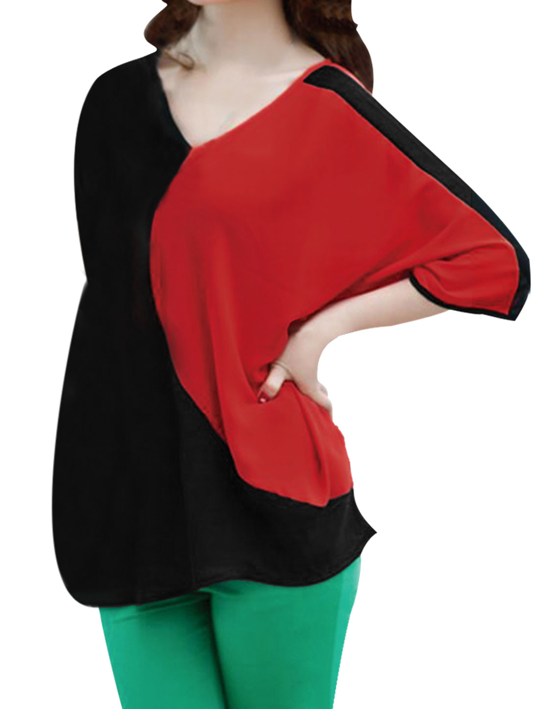 Ladies Red Black Batwing Sleeves Pullover Casual Tee Shirt S