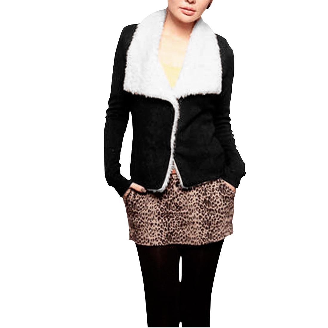 Ladies Black Bracelet Sleeves Fleece Inner Casual Pure Coat XS