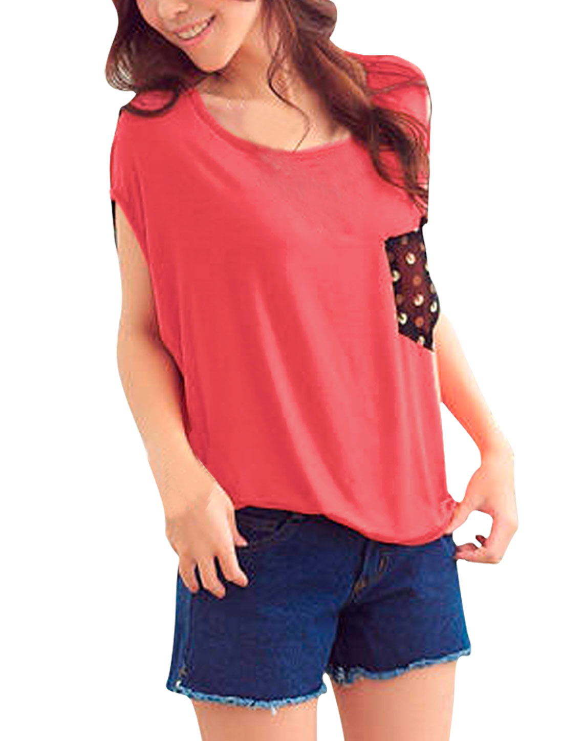 Ladies Watermelon Red Scoop Neck Stretchy Pullover Tee Shirt S