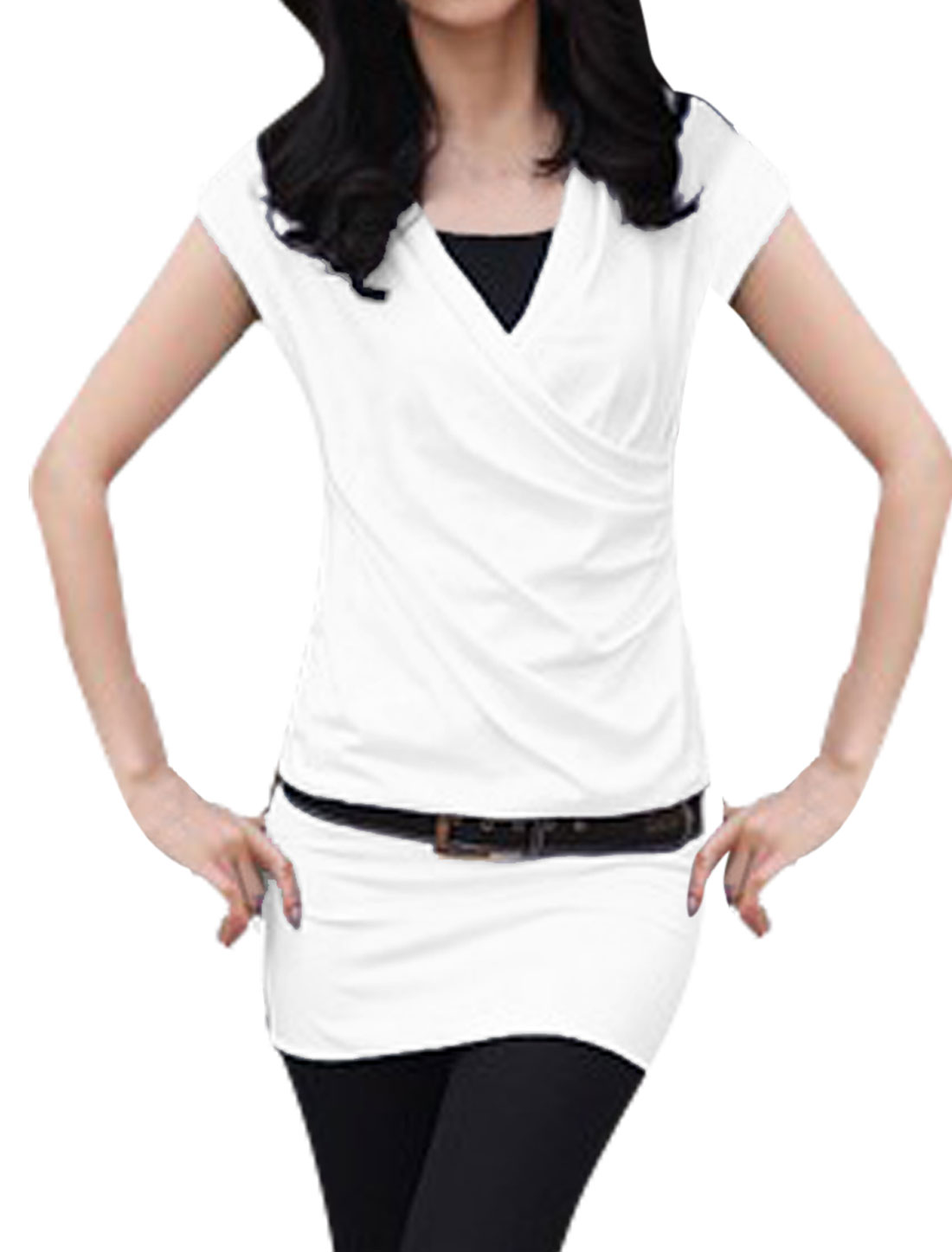 Ladies White Cap Sleeves Panel With Waist Belt Tunic Shirt XS