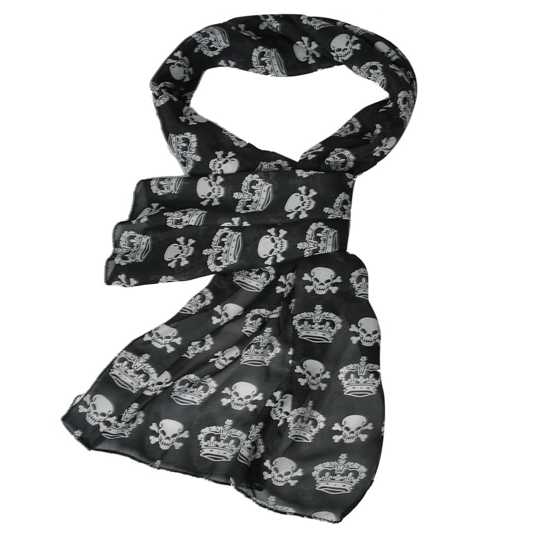 Lady White Crown Skull Prints Rectangle Shaped Chiffon Long Scarf Shawl Black