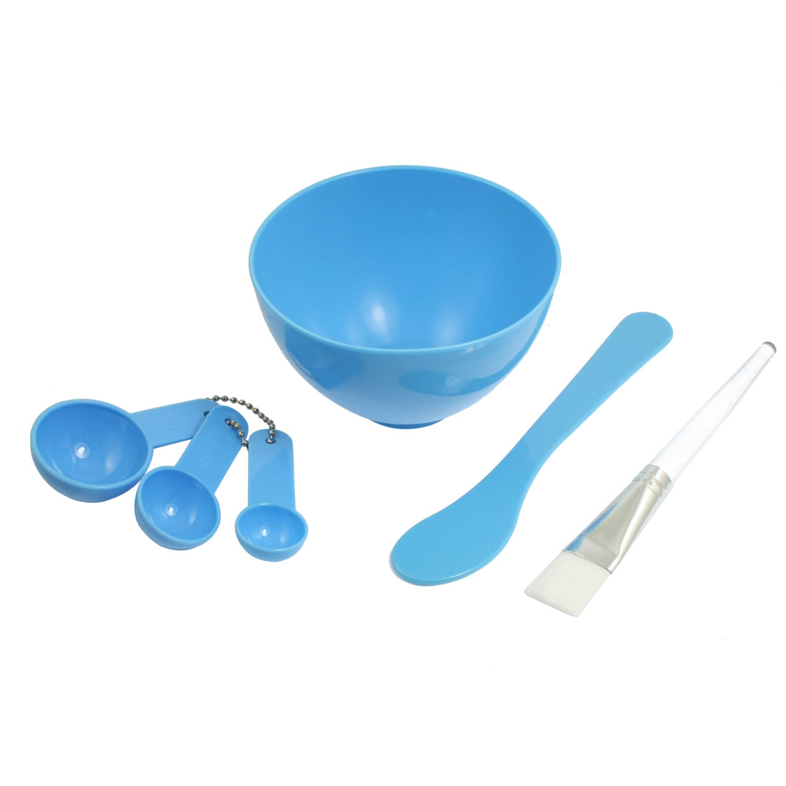 Set 4 in 1 DIY Facial Mask Mixing Bowl Stick Brush Spoon Sky Blue for Ladies