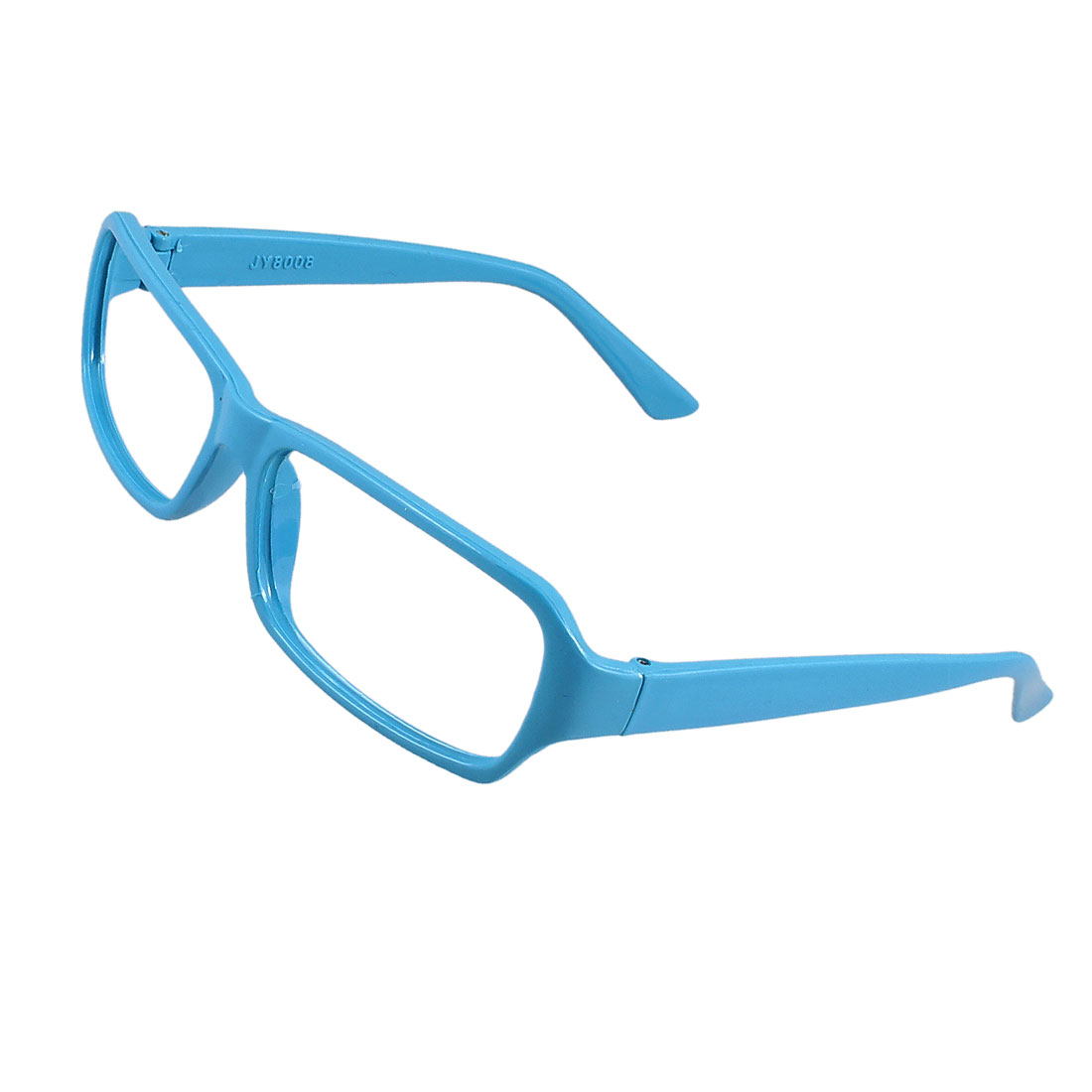 Men Women Sky Blue Plastic Full Rim No Lens Eyeglasses Spectacle Frame