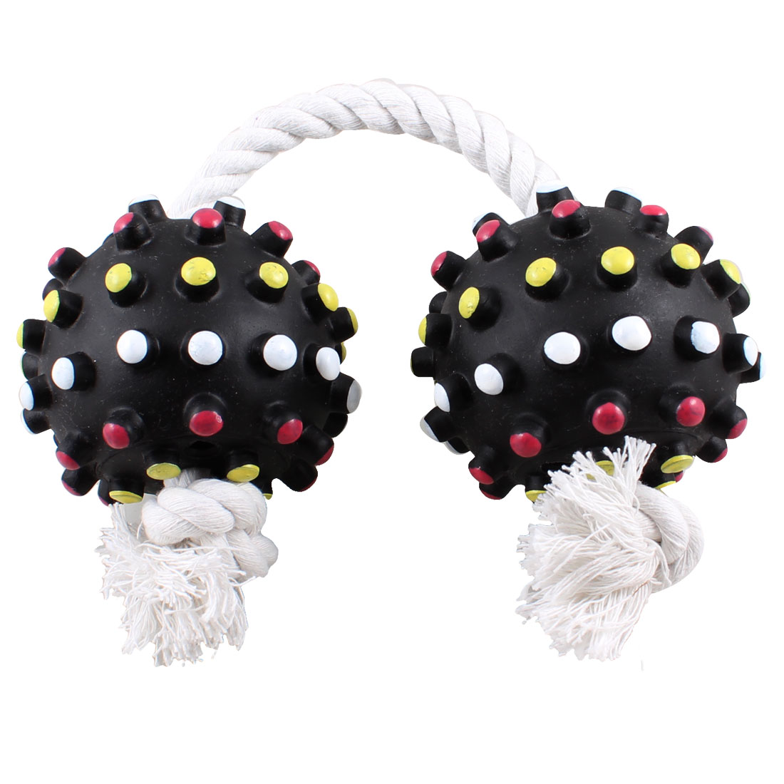 Dog Pet Catching Chew Toy White Braided Rope Knot Black Tug Balls