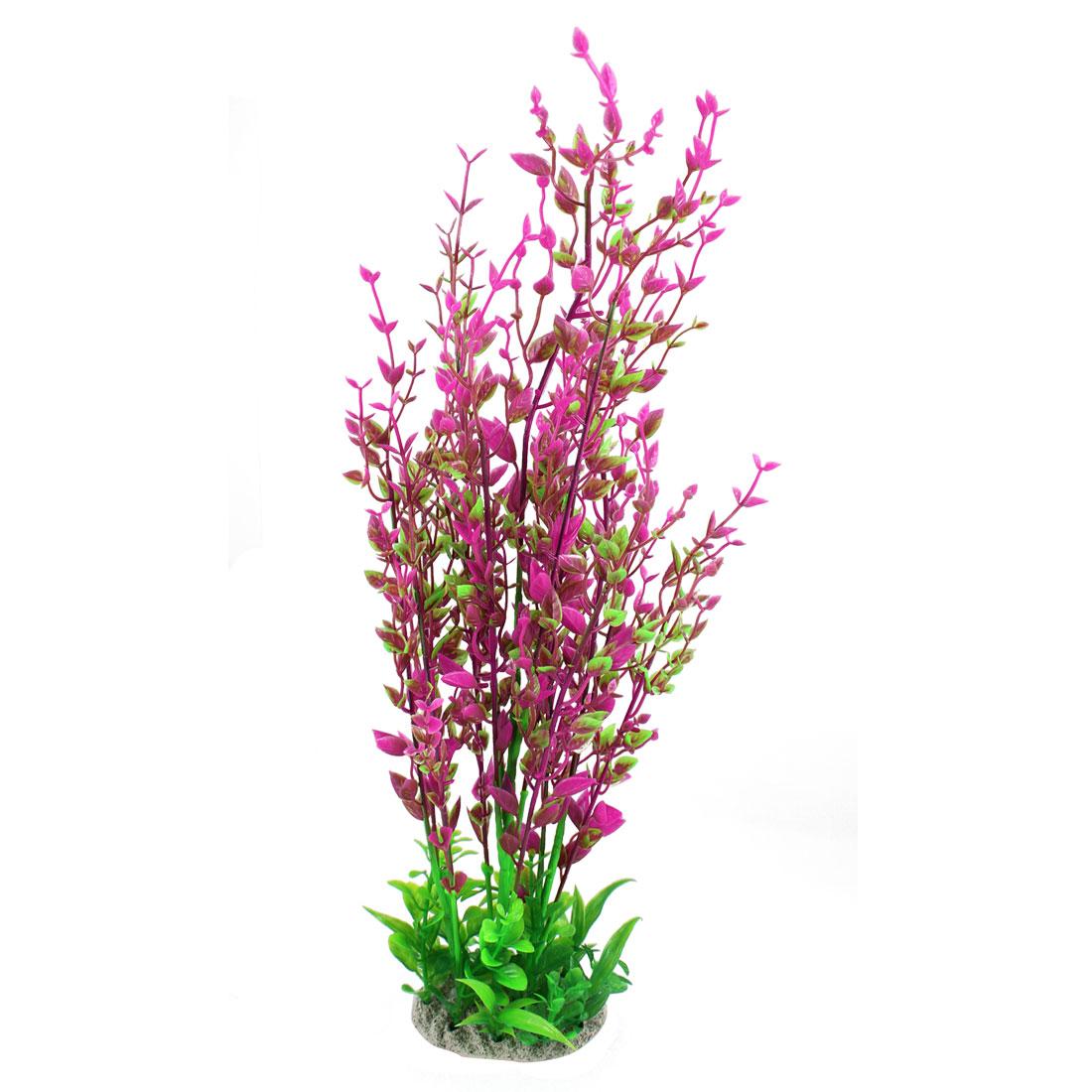 "15.7"" Height Fuchsia Green Aquarium Simulation Plastic Water Plant Ornament"