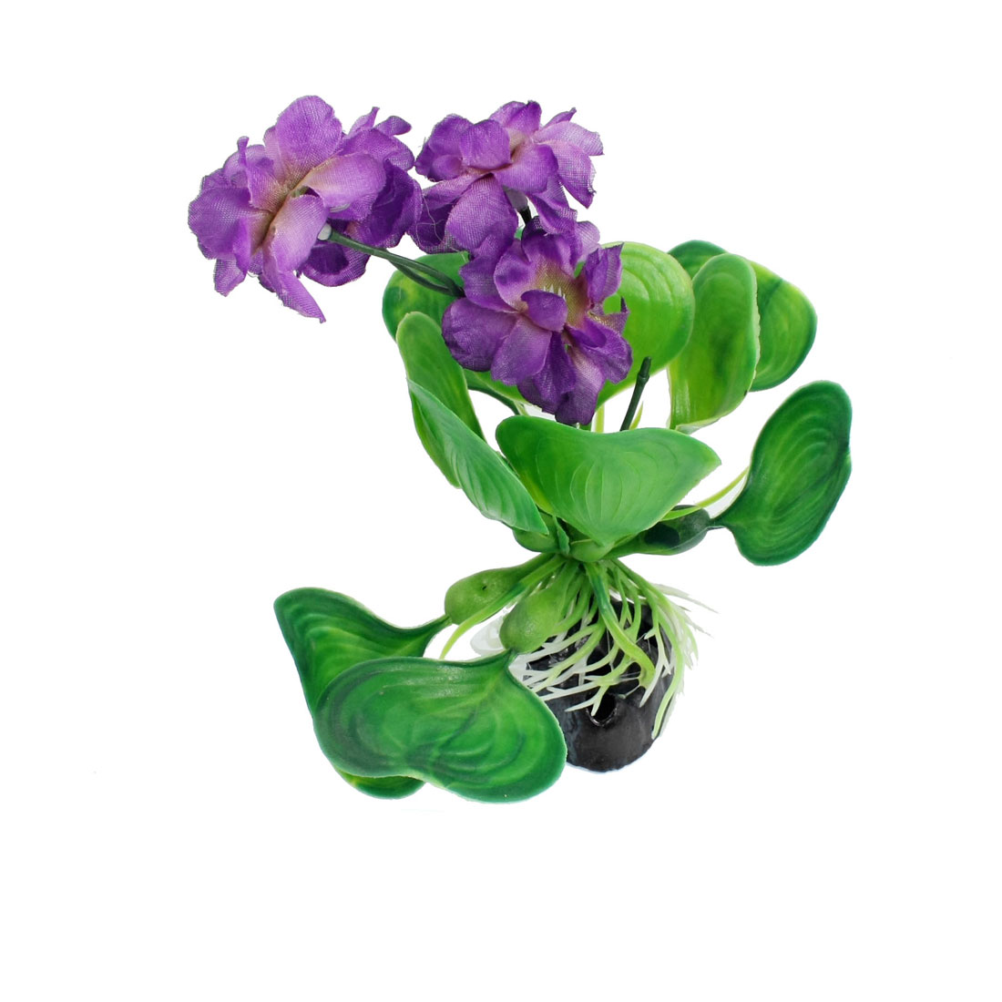 "5.1"" Height Green Leaf Purple Flower Aquarium Simulation Aquatic Plant Ornament"