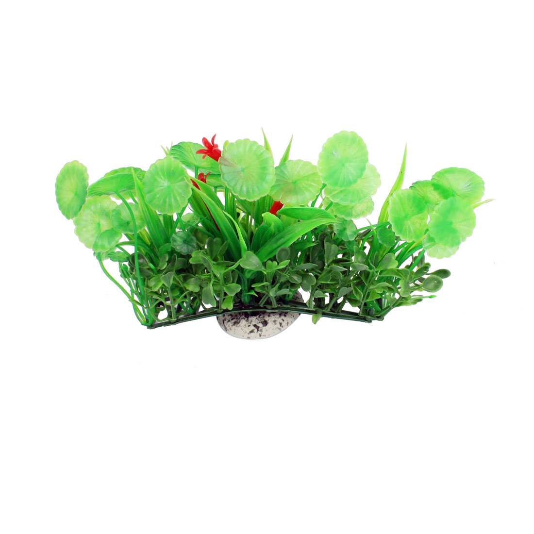 "3.5"" High Green Round Leaf Red Flower Fish Tank Simulation Aquatic Plant Decor"