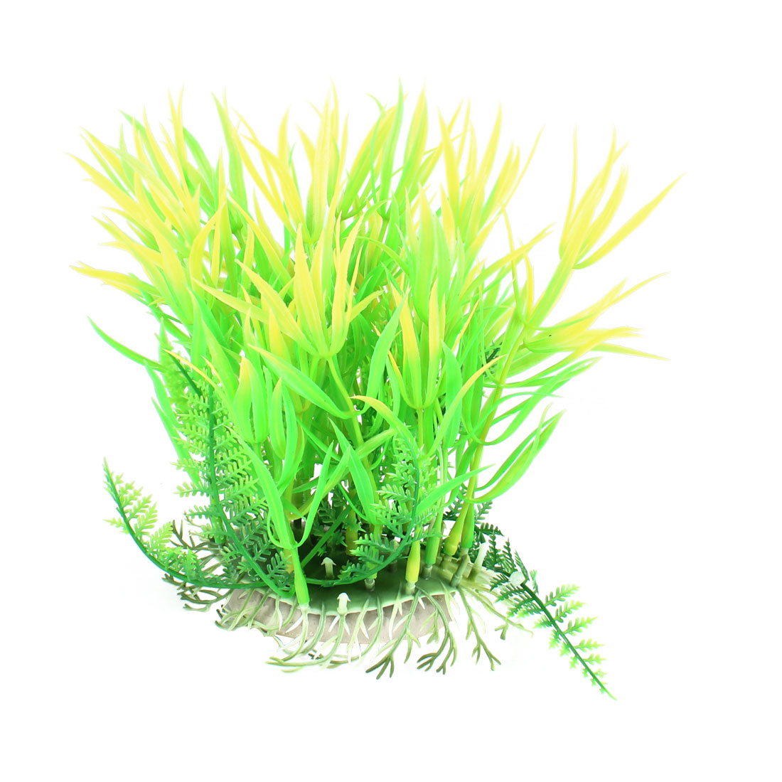 "6.7"" High Green Yellow Leaves Aquarium Fish Tanks Simulation Water Plant Decor"