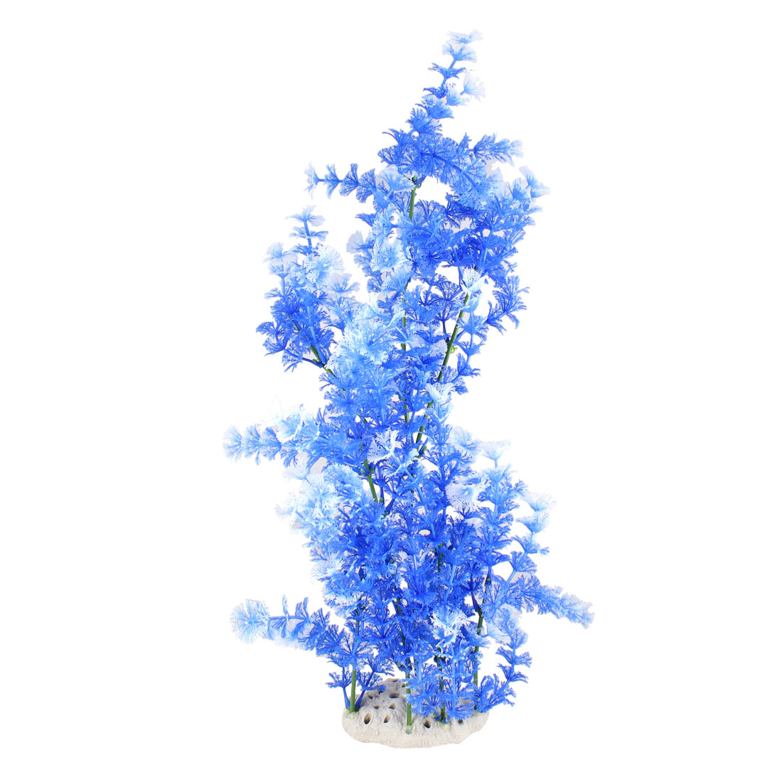 "19.7"" Height Blue White Snowflake Leaves Fish Tank Simulation Plant Ornament"