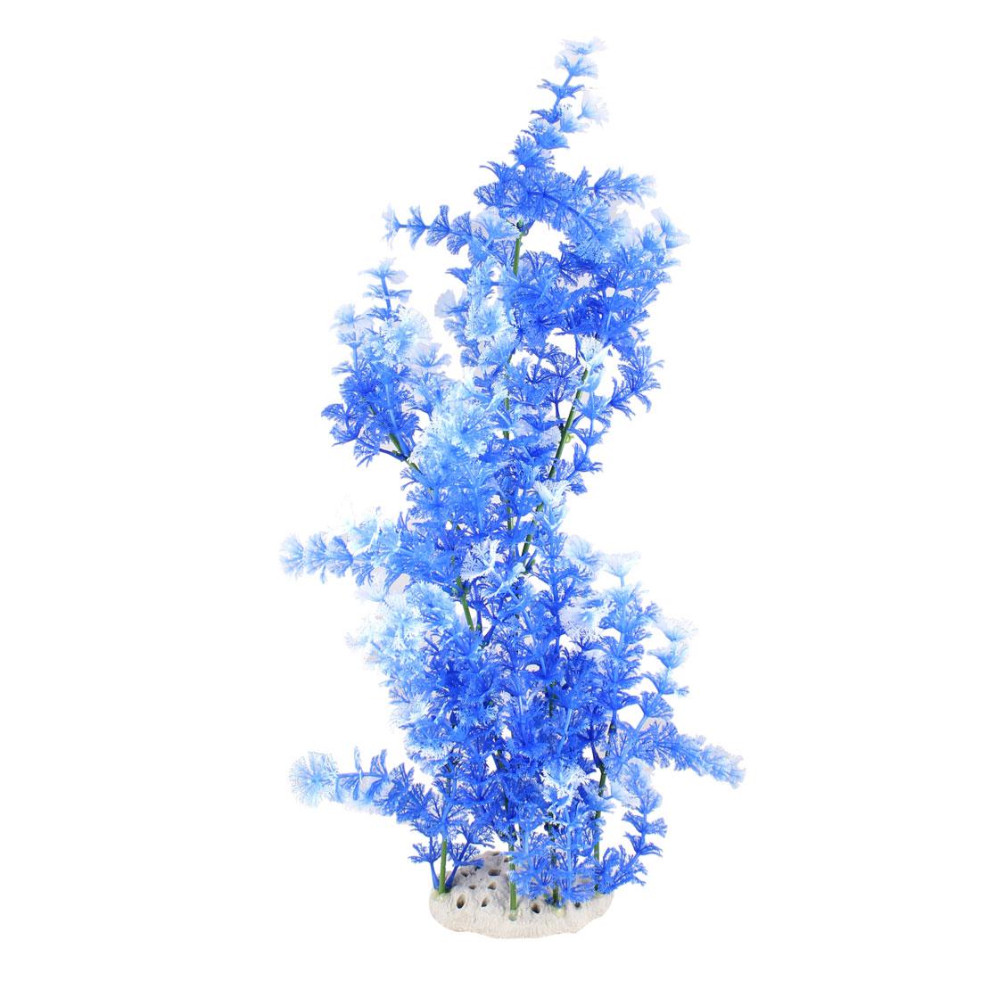 "19.7"" Height Blue White Snowflake Leaves Fish Tank Simulation Plant Ornament"