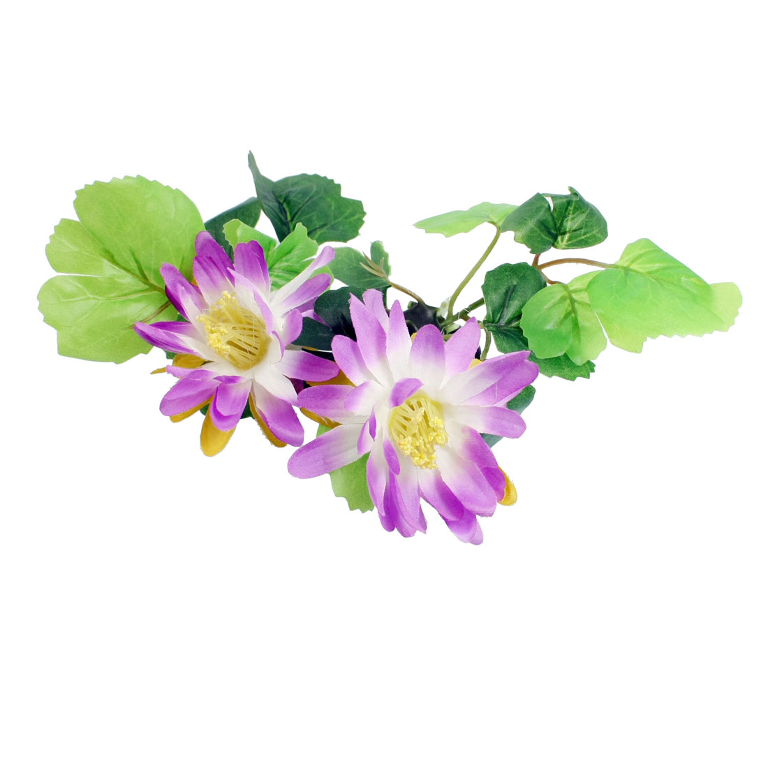 "3.5"" Height Green Leaf White Purple Flower Aquarium Simulation Plant Ornament"