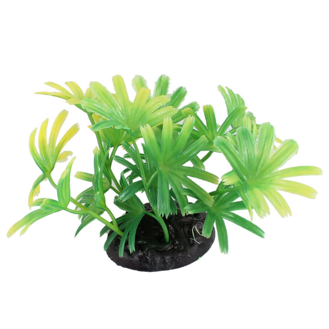 "2.4"" High Yellow Green Leaves Fish Tank Plastic Simulation Plant Decoration"