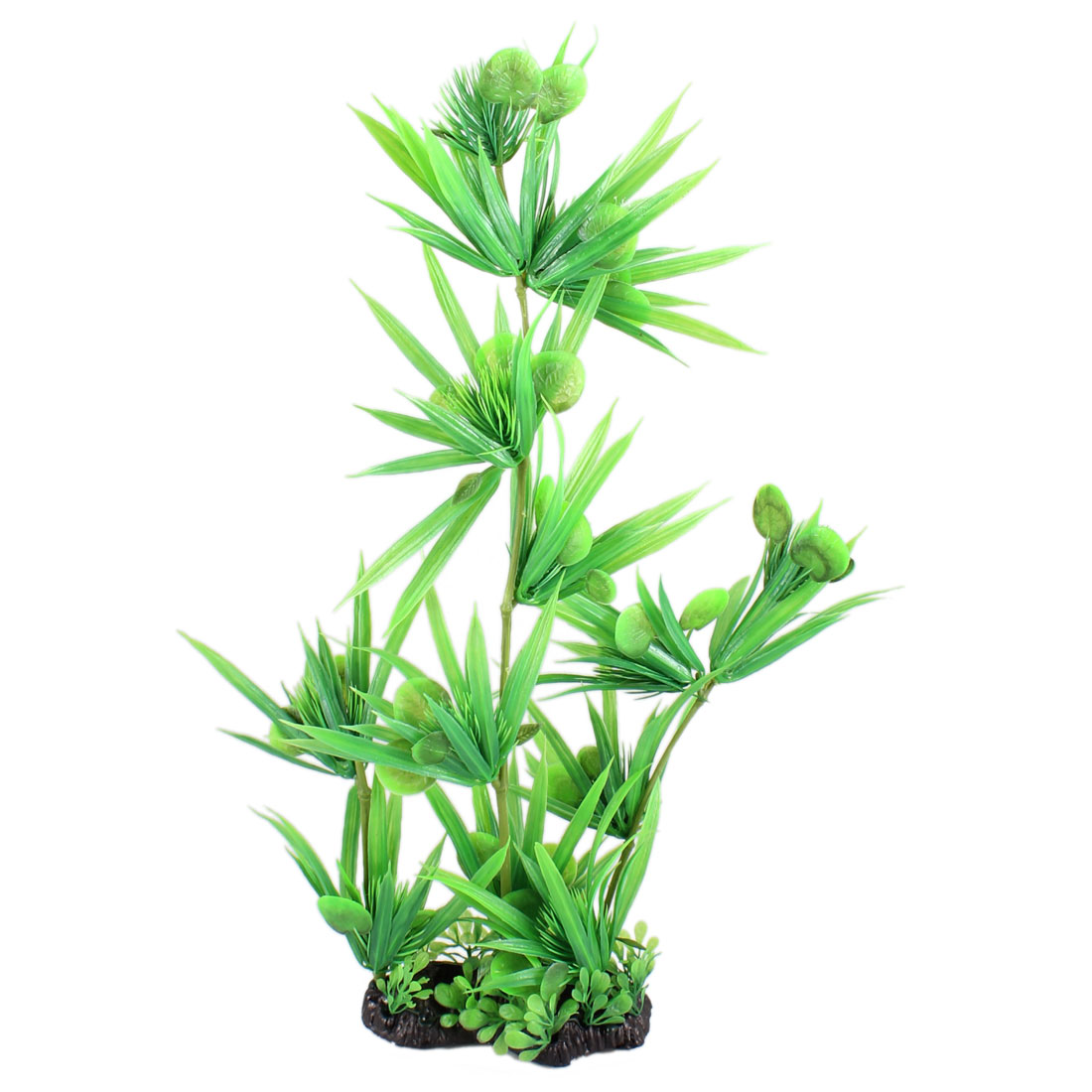 "15"" Height Green Slender Round Leaves Fish Tank Simulation Plant Decoration"