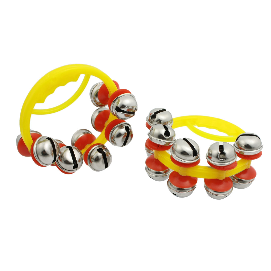 Pair Xmas Festive Handheld Musical Tambourine Jingling Bells Toy for Child